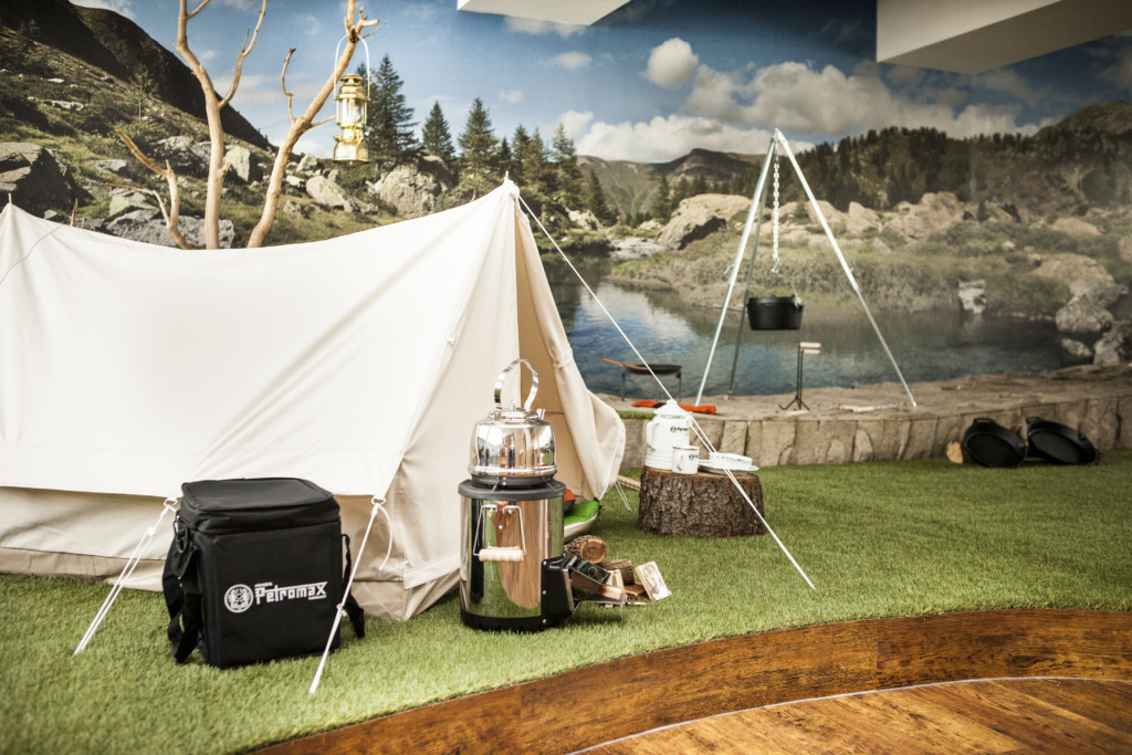 Petromax World salesroom showroom mountain setting tent rocket stove